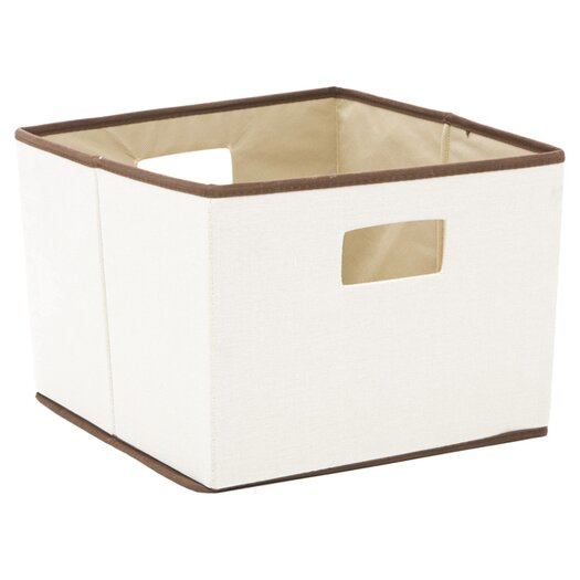 Household Essentials Brown Trimmed Storage Bin in Natural with Brown Trim