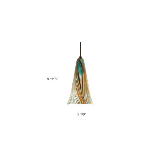 WAC Lighting Artisan Glass Pendant Peacock Shade