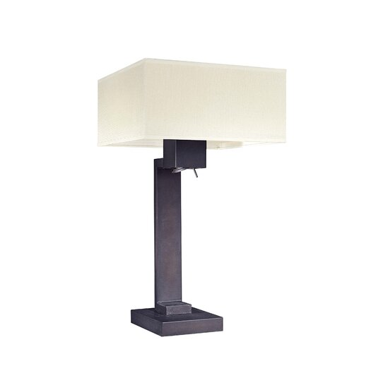 "George Kovacs by Minka 3 Light 27"" H Table Lamp with Square Shade"