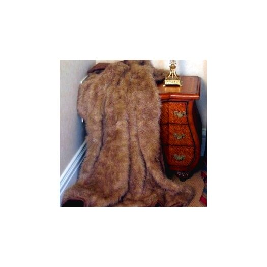 Posh Pelts Raccoon Tail Faux Fur Acrylic Throw Blanket with Faux Suede Lining