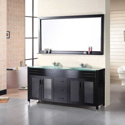 "Design Element Waterfall 71"" Double Bathroom Vanity Set with Mirror"