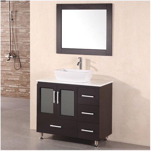 "Design Element Milan Stanton 36"" Single Modern Bathroom Vanity Set with Mirror"