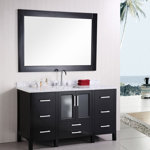 "Design Element Stanton 60"" Single Modern Bathroom Vanity Set with Mirror"