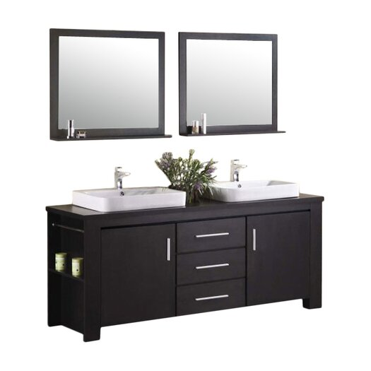 "Design Element Washington 72"" Double Sink Vanity Set"