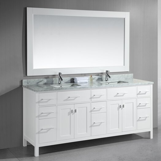 "Design Element London 78"" Double Modern Bathroom Vanity Set with Mirror"