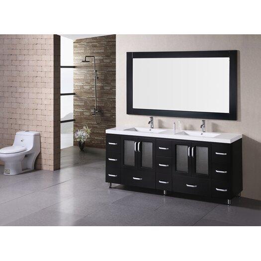 "Design Element Stanton 72"" Double Bathroom Vanity Set with Mirror"
