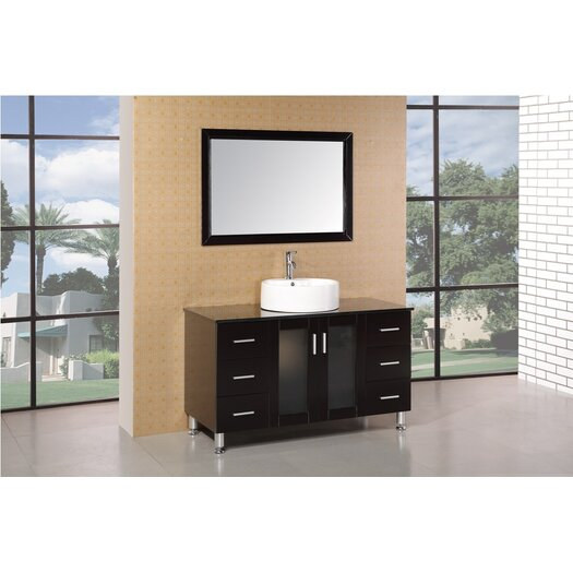 "Design Element Malibu 47"" Single Modern Bathroom Vanity Set with Mirror"