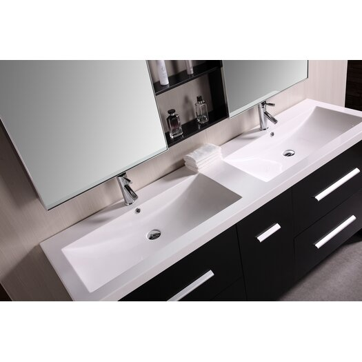 "Design Element Perfecta 72"" Double Sink Vanity Set"