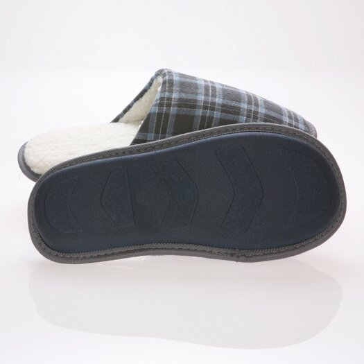 Deluxe Comfort Checkered Cotton Wool Fleece Lining Mens House Slippers