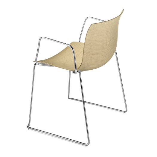Catifa 53 Wooden Armchair with Sled Base