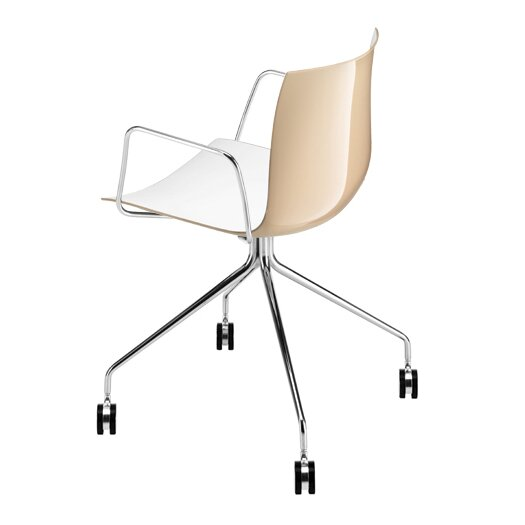 Catifa 46 Polypropylene Two-Tone Armchair with 4-Way Swivel Trestle Base on Castors