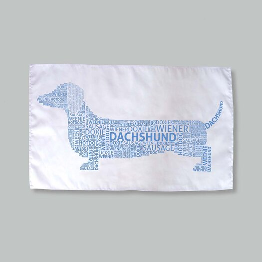 Naked Decor Dachshund Typography Dish Towels