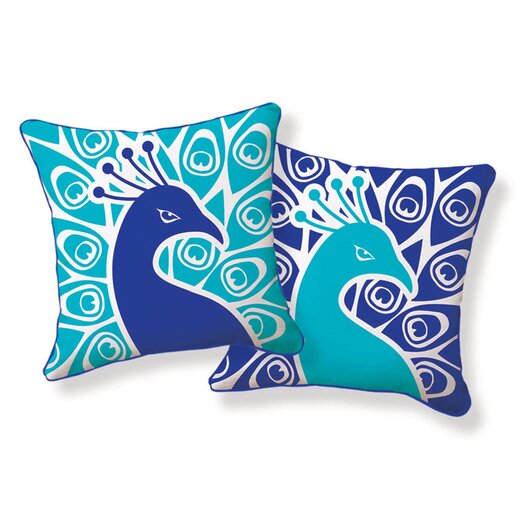 Naked Decor Peacock Reversible Throw Pillow