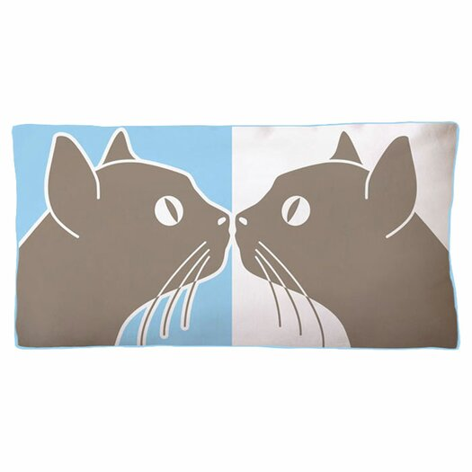 Naked Decor Kissing Cats Double Sided Cotton Lumbar illow