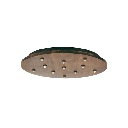 LBL Lighting Fusion Jack Eleven Port Wood Round LED Canopy in Satin Nickel