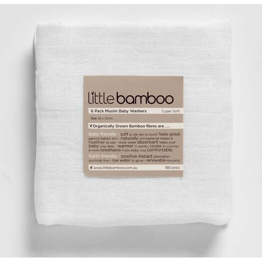 Little Bamboo Muslin Washers - 6 Pack