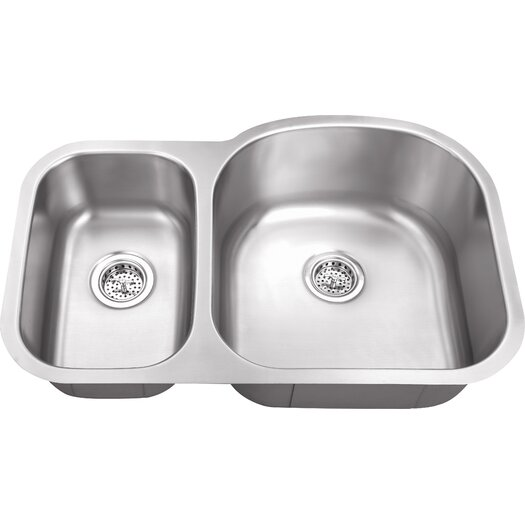 "Schon 34"" x 23"" Double Bowl 16 Gauge Kitchen Sink"