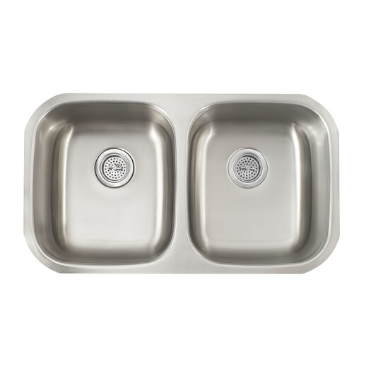 "Schon 29.5"" x 16.5"" Double Bowl 16 Gauge Kitchen Sink"
