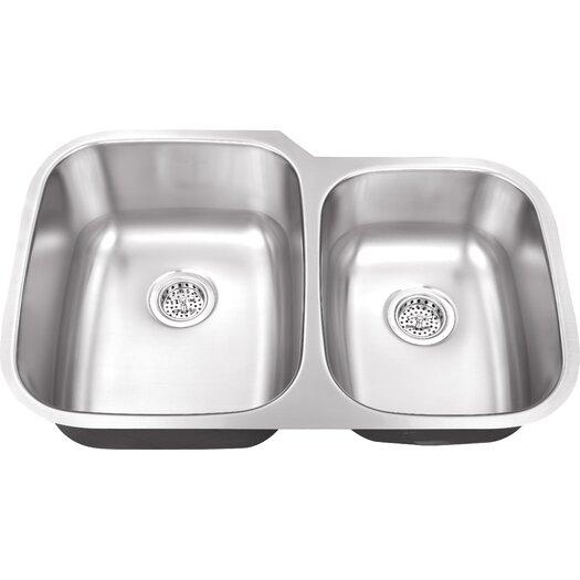 """Schon 30"""" x 18.75"""" Double Bowl 18 Gauge Kitchen Sink"""