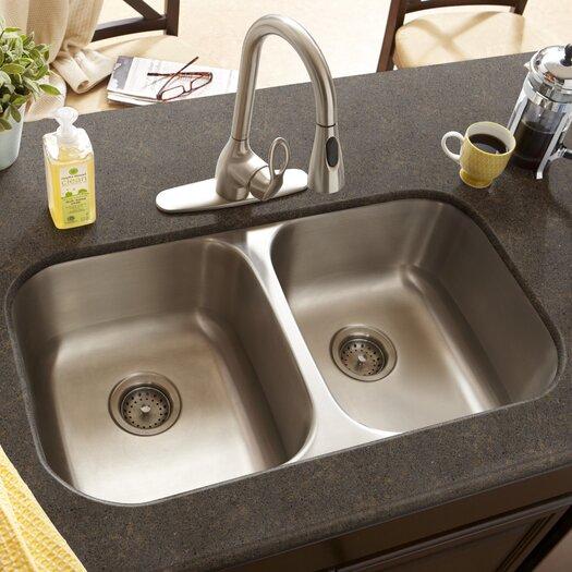 """Schon 29.5"""" x 16.5"""" Double Bowl 16 Gauge Kitchen Sink"""