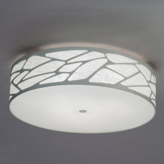 Studio Italia Design Grace Cylinder Ceiling Fixture with Custom Fabric Diffuser