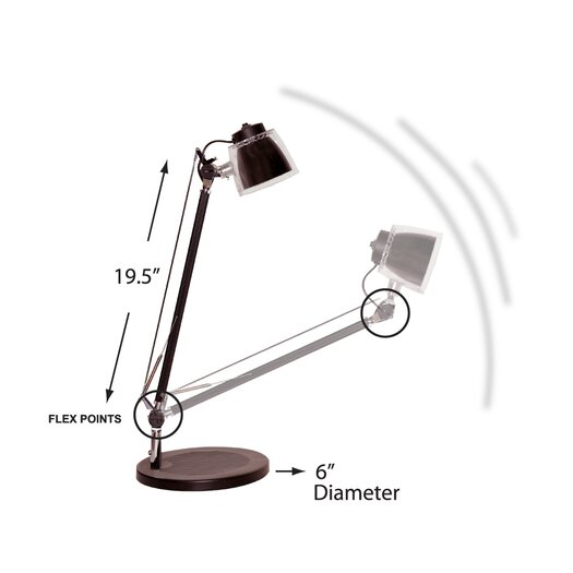 """Bulbrite Industries MiniStryde LED 19.5"""" H Table Lamp with Bowl Shade"""