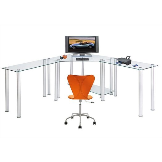 RTA Home And Office CT Computer/Laptop Desk Corner Computer Desk with Right and Left Extension Tables