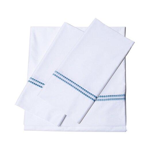 Tribeca Living 400 Thread Count Dot Embroidered Cotton Deep Pocket Sheet Set