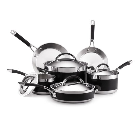 Anolon Ultra Clad 3 Ply Stainless Steel 10 Piece Cookware Set
