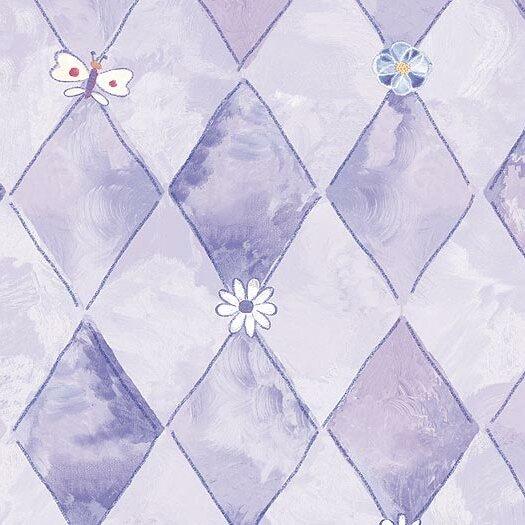 4 Walls Whimsical Children's Vol. 1 Groovy Flower Argyle Wallpaper