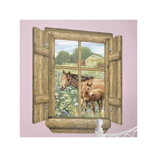 4 Walls Unique Peel and Stick Log Window Horse Wall Decal