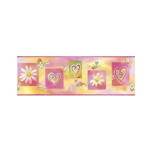 4 Walls Whimisical Wall Borders Hearts and Flowers Wallpaper Border