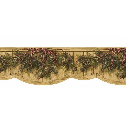 4 Walls Lodge Décor Pinecone Swag Die-Cut Floral Botanical Border Wallpaper