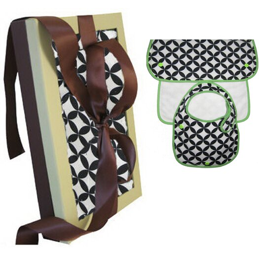 Organic Bib and Burp Gift Set in Diamond Eye