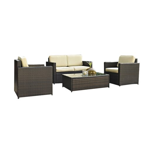 Crosley Palm Harbor 4 Piece Deep Seating Group with Cushions