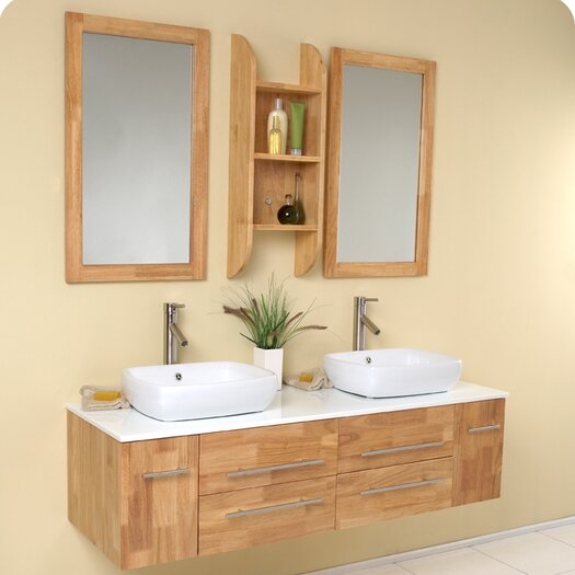 "Fresca Stella 59"" Bellezza Modern Double Vessel Sink Bathroom Vanity Set"