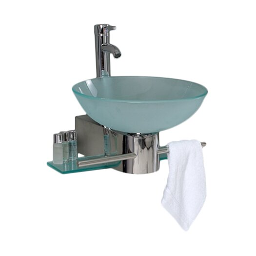 "Fresca Vetro 17.75"" Cristallino Modern Glass Bathroom Vanity Set with Frosted Vessel Sink"