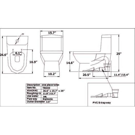 Fresca Dorado Dual Flush 0.8 GPF / 1.6 GPF Elongated 1 Piece Toilet with Soft Close Seat