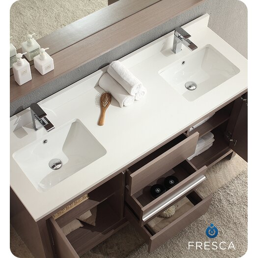 "Fresca Allier 60"" Modern Double Sink Bathroom Vanity Set with Mirror"