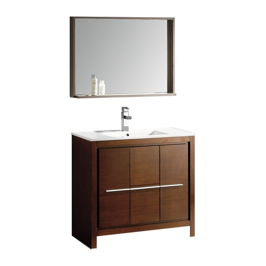 "Fresca Allier 35.5"" Modern Bathroom Vanity Set & Mirror"