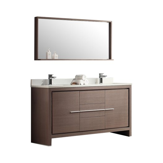 "Fresca Allier 60"" Double Modern Bathroom Vanity Set with Mirror"