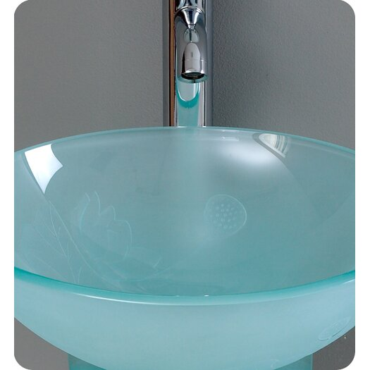 "Fresca Vetro 16.5"" Vitale Modern Glass Bathroom Vanity Set with Mirror"