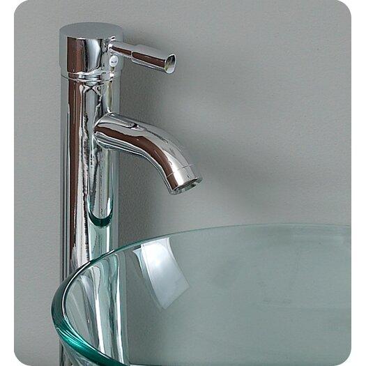 "Fresca Vetro 29.5"" Attrazione Modern Glass Bathroom Vanity Set with Edge Mirror"