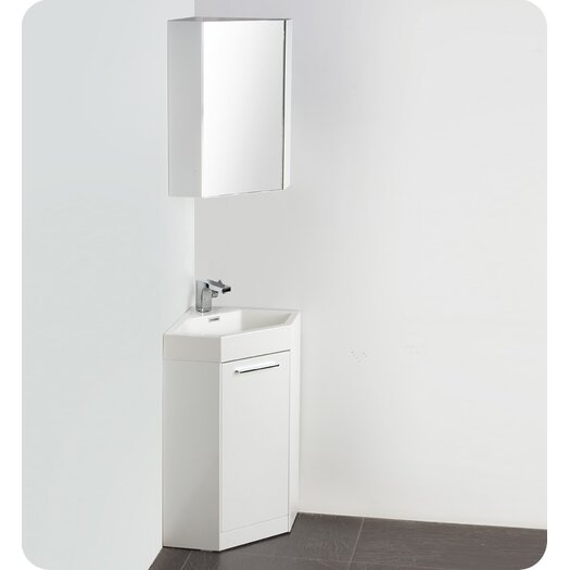"Fresca Lucida 18"" Coda Modern Corner Bathroom Vanity Set with Single Sink"