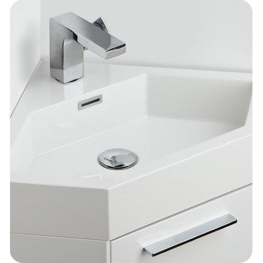 "Fresca Lucida 18"" Single Coda Modern Corner Bathroom Vanity Set"