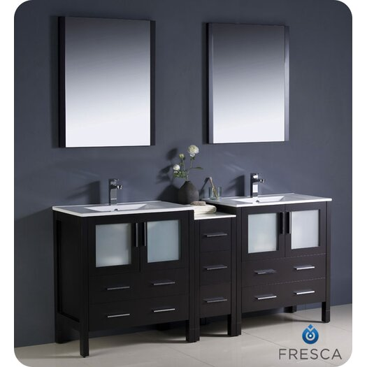 "Fresca Torino 72"" Modern Double Sink Bathroom Vanity Set with Side Cabinet and Undermount Sinks"