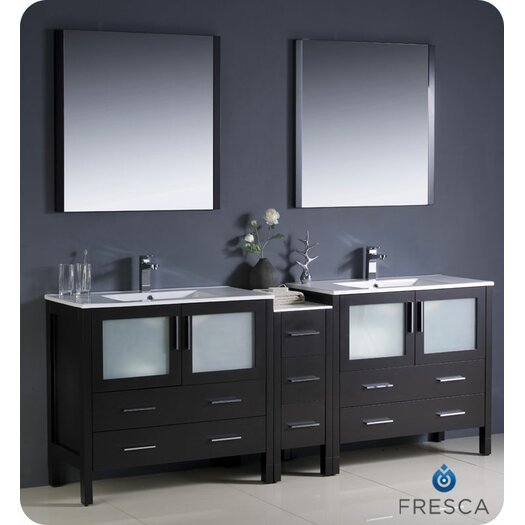 """Fresca Torino 84"""" Modern Double Sink Bathroom Vanity Set with Side Cabinet and Undermount Sinks"""