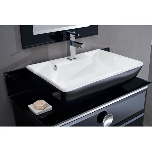 "Fresca Moselle 36"" Single Modern Glass Bathroom Vanity Set with Mirror"