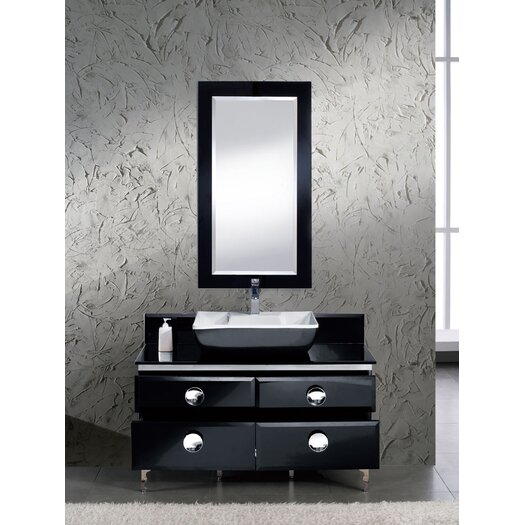 "Fresca Moselle 47"" Single Modern Glass Bathroom Vanity Set with Mirror"