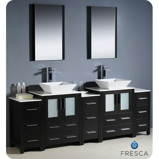 """Fresca Torino 84"""" Modern Double Sink Bathroom Vanity Set with 3 Side Cabinets and Vessel Sinks"""
